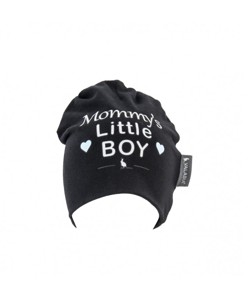 """Czapka bawełniana dla niemowlaka i starszaka """"Mommy's little BOY"""" Czarna"""