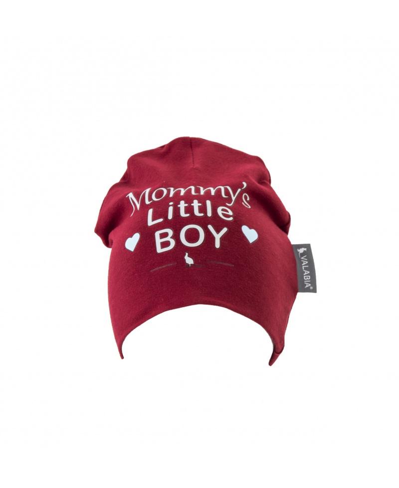 """Czapka bawełniana dla niemowlaka i starszaka """"Mommy's little BOY"""" Bordowa"""
