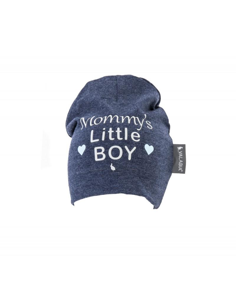 """Czapka bawełniana dla niemowlaka i starszaka """"Mommy's little BOY"""" Jeans"""