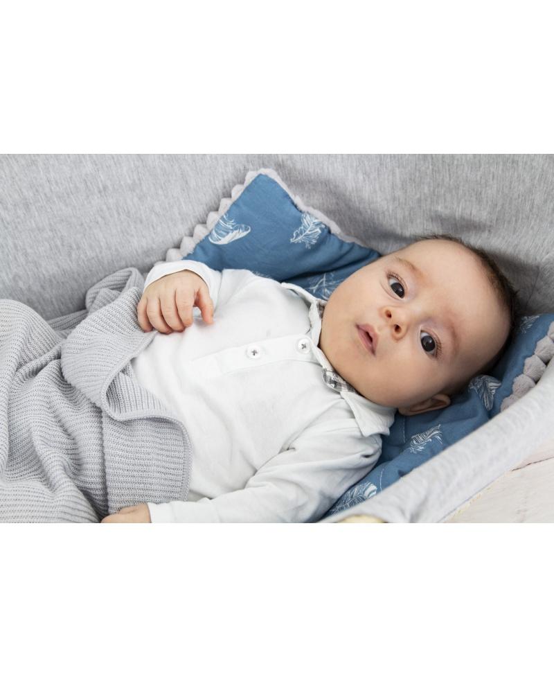 Płaska poduszka niemowlaka i starszaka BLUE