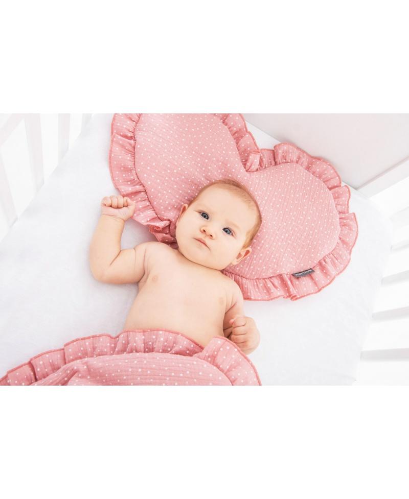 Pościel muślinowa dziecięca – poduszka serce + kołderka Kropeczki Baby Pink