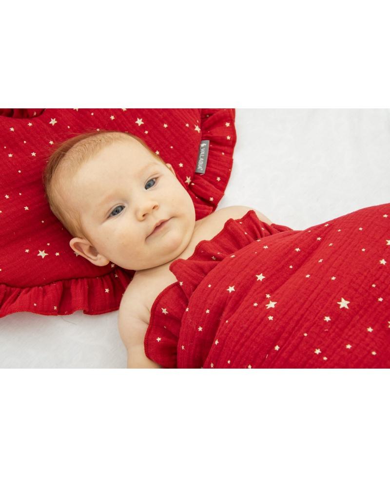 Pościel muślinowa dziecięca – poduszka serce + kołderka Gwiazdki Czerwone