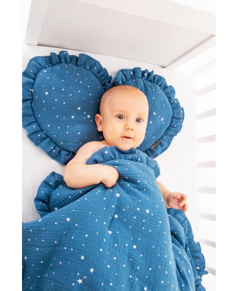 Pościel muślinowa dziecięca – poduszka serce + kołderka Gwiazdki Niebieski