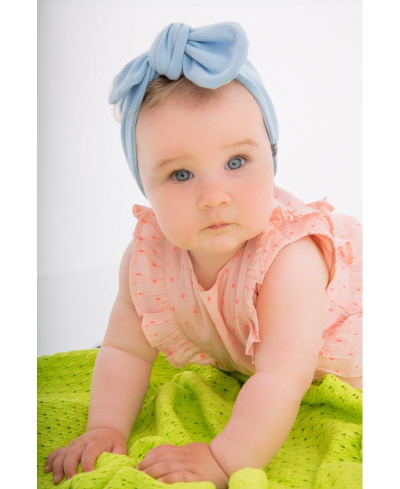 Opaska bawełniana z kokardą Mama & Córka Baby Blue