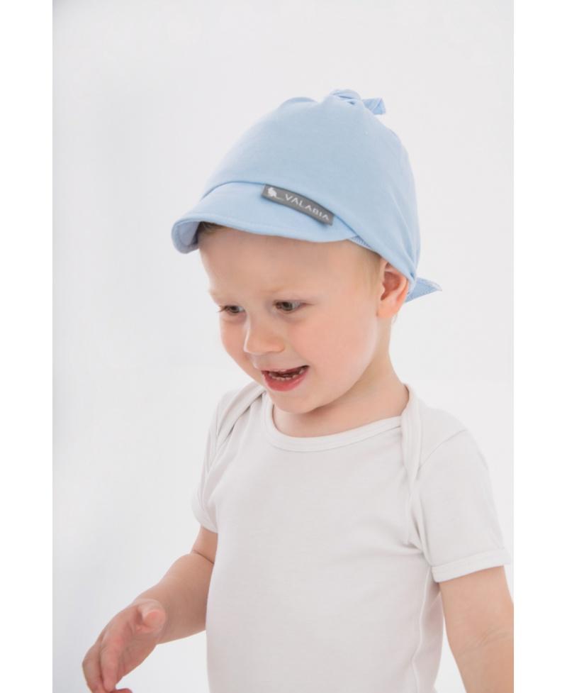 Chustka bawełniana z daszkiem dla niemowlaka i starszaka Błękitna