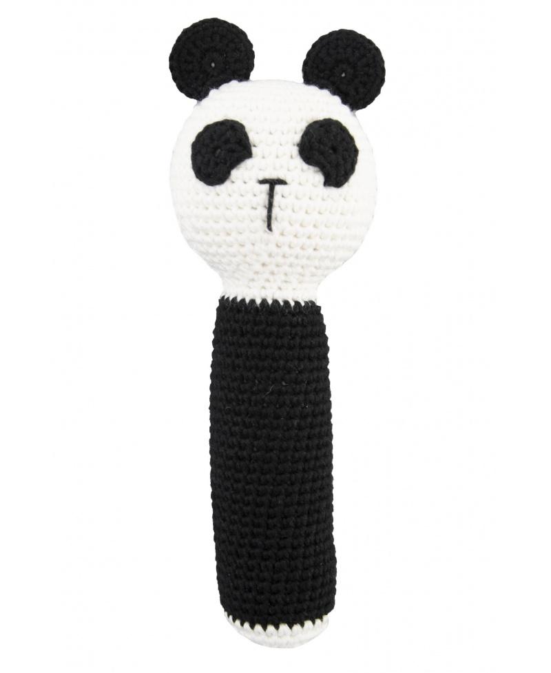 Ręcznie szydełkowana Grzechotka Panda z bawełny organicznej GOTS