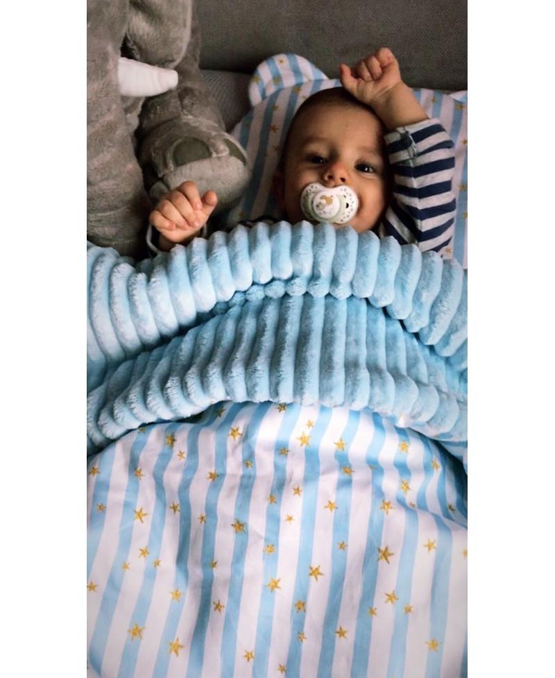 Mała kołderka-kocyk niemowlaka i starszaka BABY BLUE