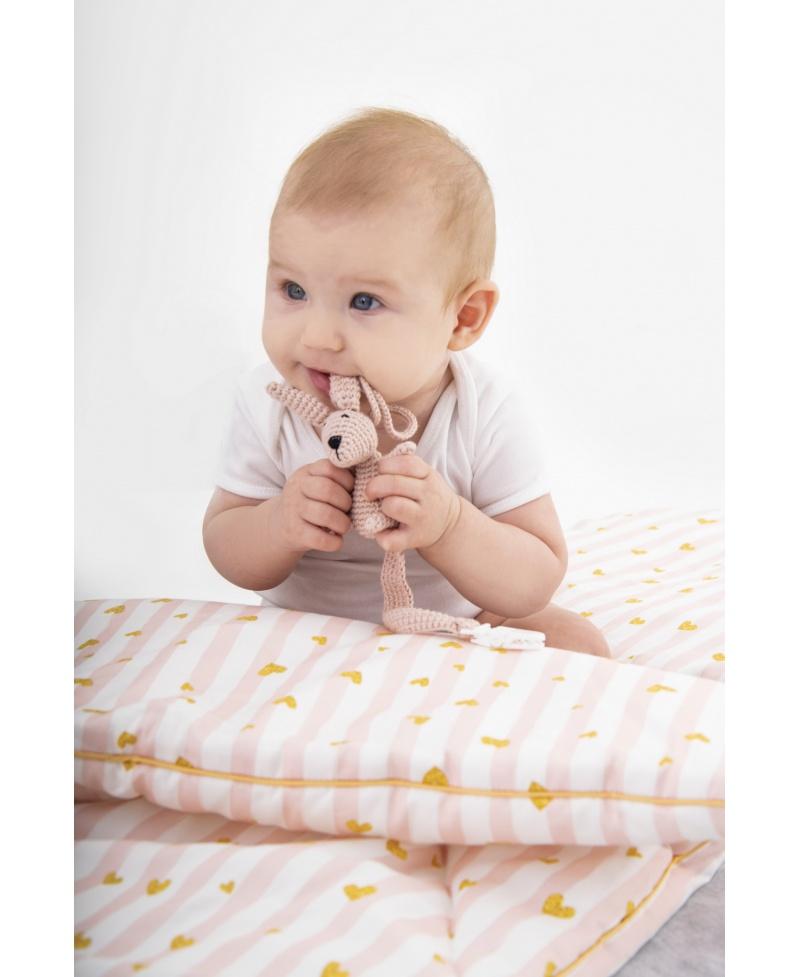 Mała bawełniana kołderka niemowlaka i starszaka BABY PINK