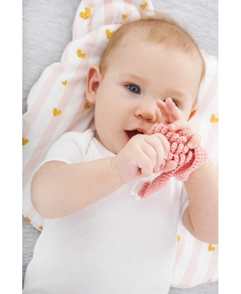 Bawełniana poduszka niemowlaka i starszaka Miś BABY PINK