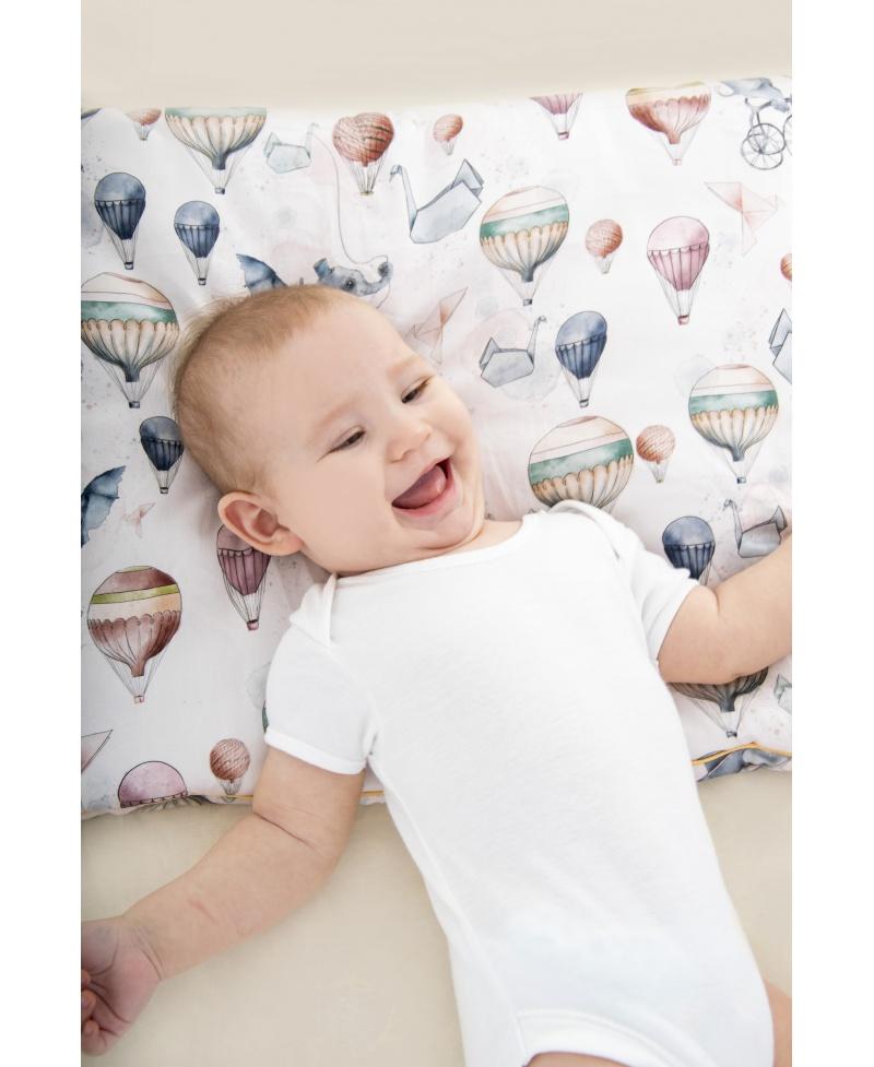 Bawełniana poduszka niemowlaka i starszaka SŁONIE NA BALONIE