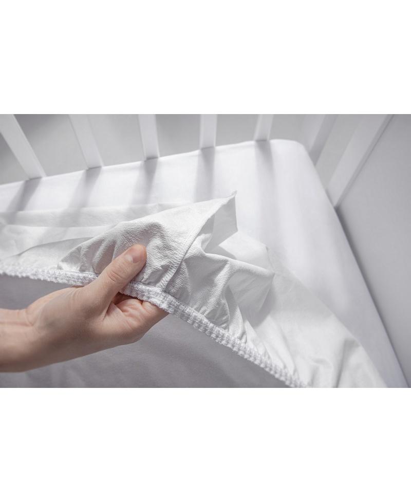 Nieprzemakalne prześcieradło bawełniane z gumką do łóżeczka