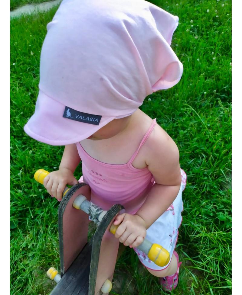 Chustka bawełniana z daszkiem dla niemowlaka i starszaka Różowa