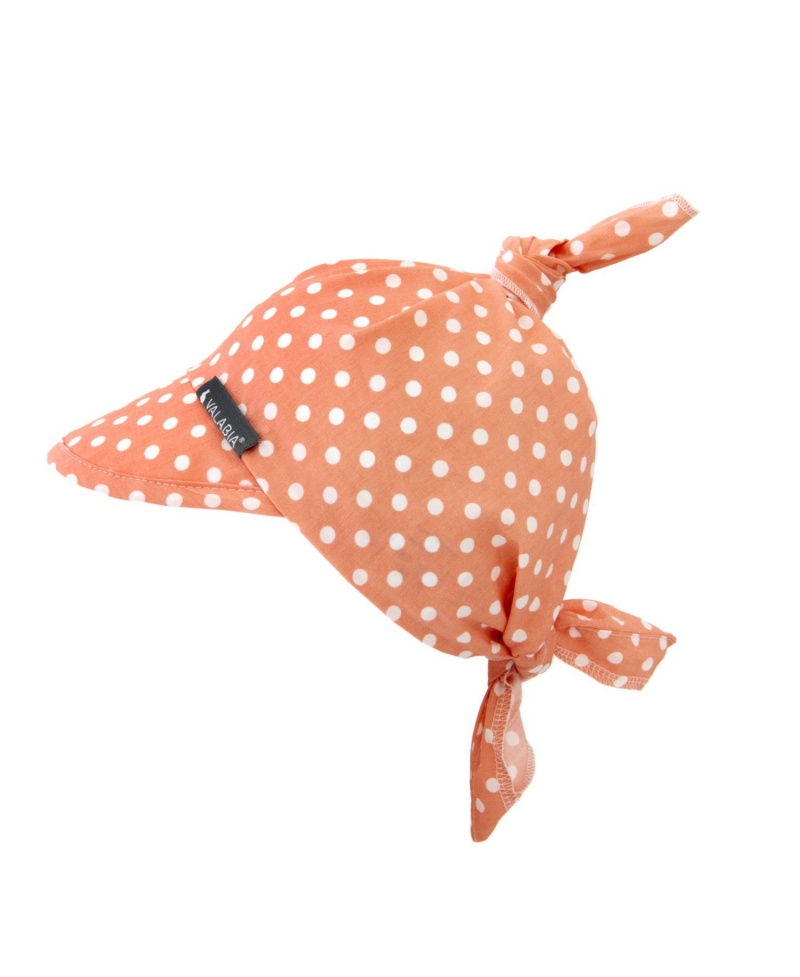 Chustka bawełniana z daszkiem dla niemowlaka i starszaka RETRO Koral