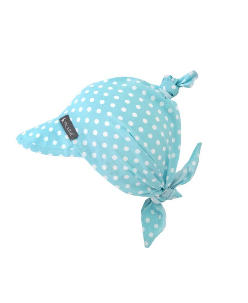 Chustka bawełniana z daszkiem dla niemowlaka i starszaka RETRO Błękit