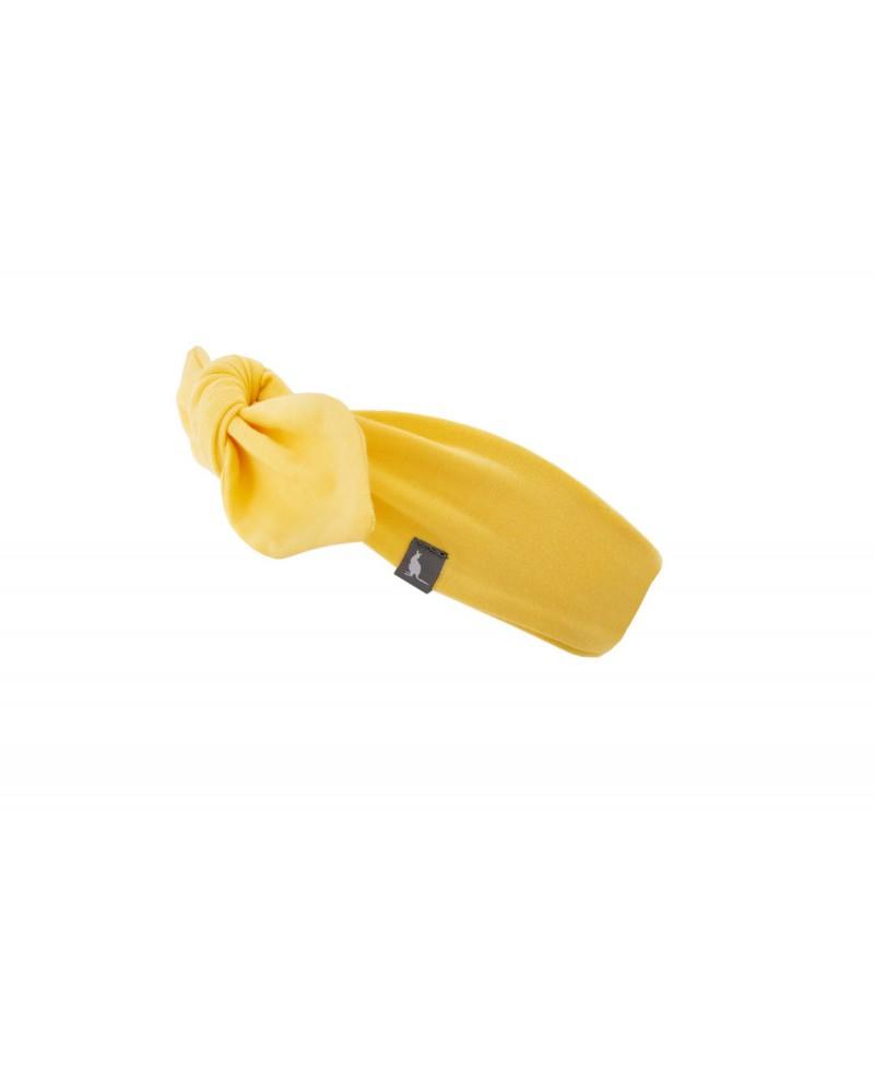 Opaska bawełniana z kokardą, na gumce Mama & Córka Żółta