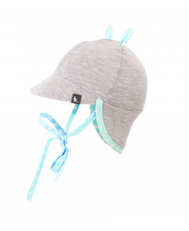 Bawełniana czapeczka z daszkiem i ochroną karku przed UV Melanż + Niebieskie Kropki
