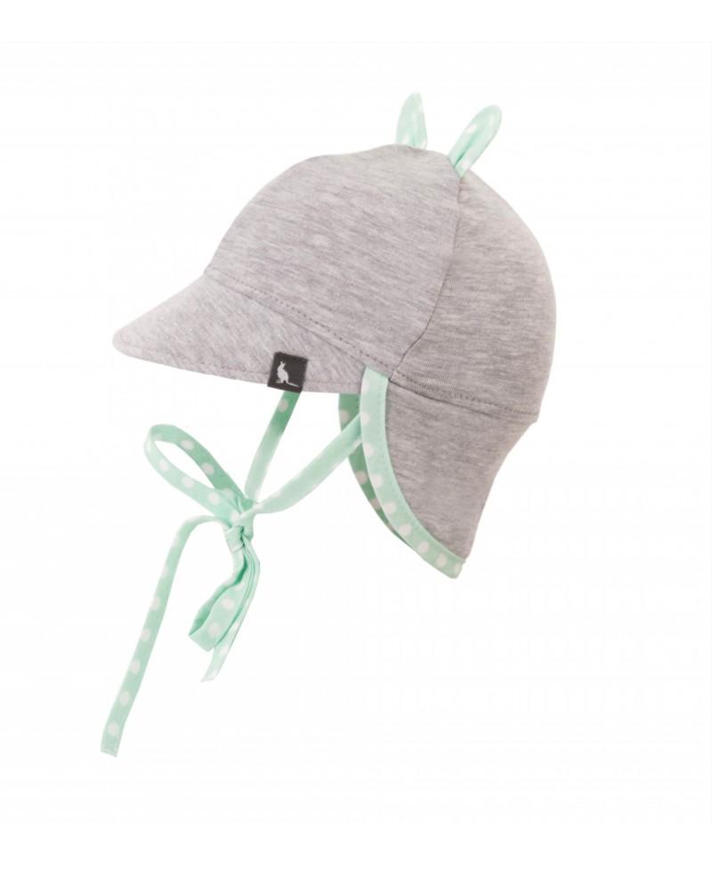 Bawełniana czapeczka z daszkiem i ochroną karku przed UV Melanż + Miętowe Kropki