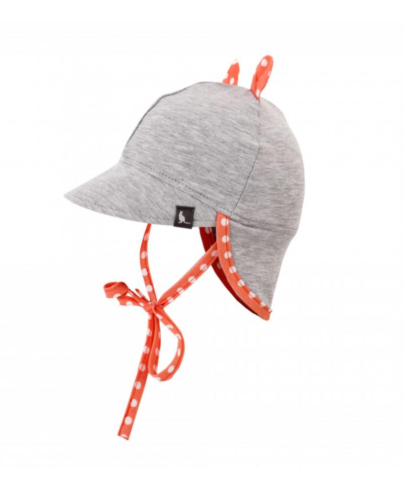 Bawełniana czapeczka z daszkiem i ochroną karku przed UV Melanż + Koralowe Kropki