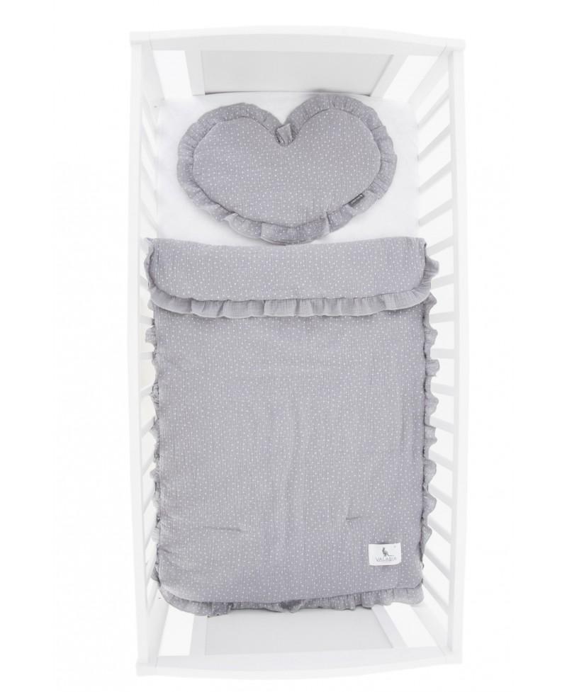 Pościel muślinowa dziecięca – poduszka serce + kołderka Kropeczki GREY