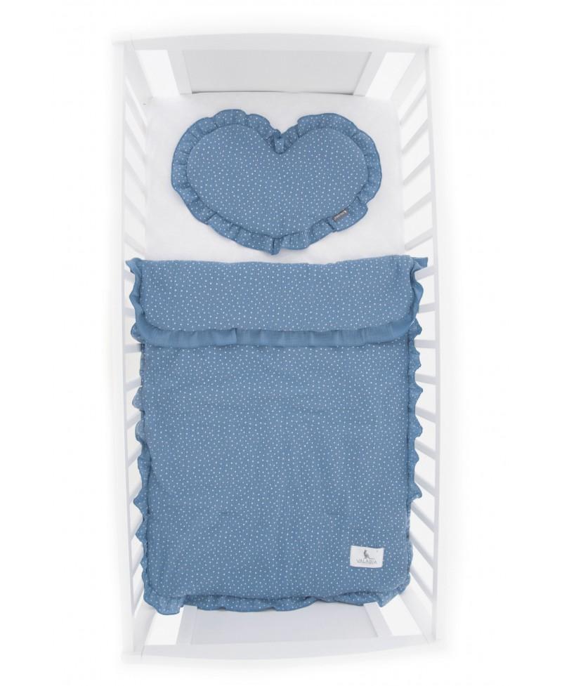 Pościel muślinowa dziecięca – poduszka serce + kołderka Kropeczki Baby Blue