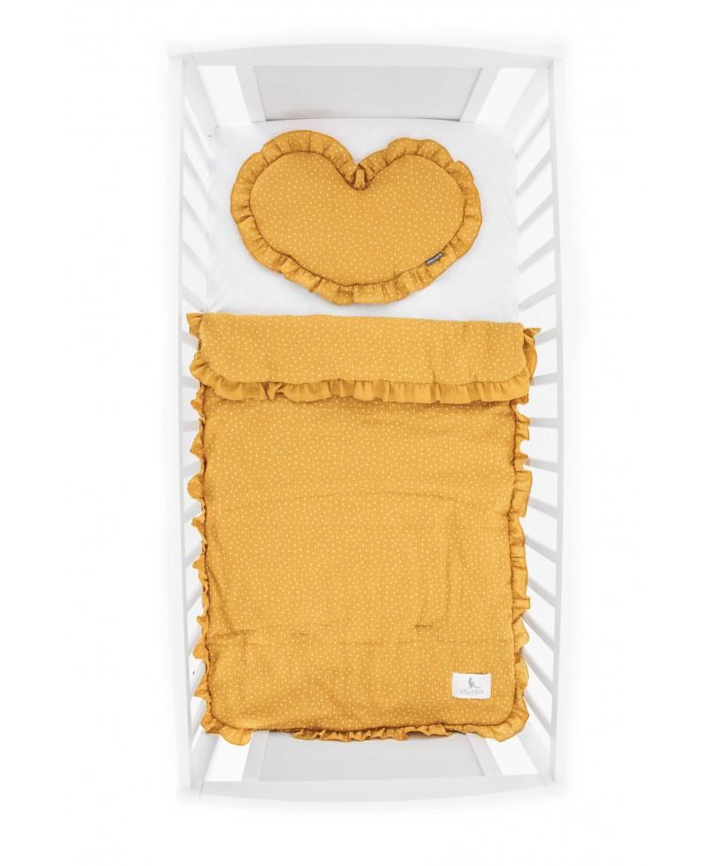 Pościel muślinowa dziecięca – poduszka serce + kołderka Musztarda