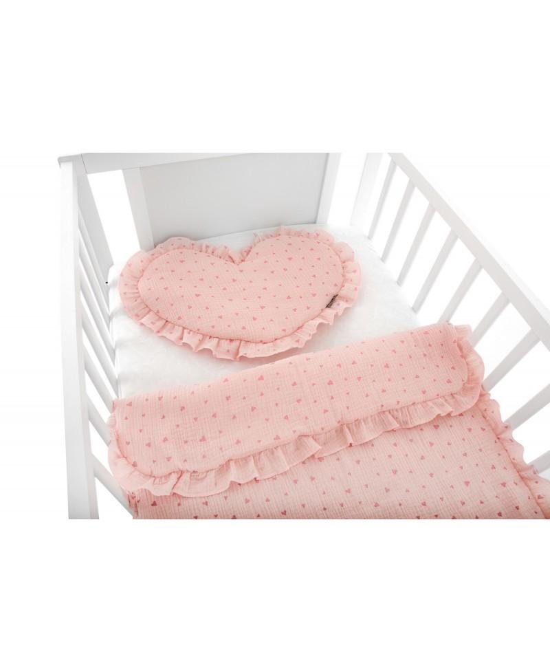 Pościel muślinowa dziecięca – poduszka serce + kołderka Serduszka
