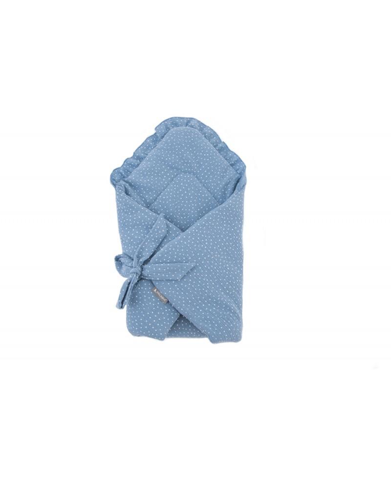 Rożek muślinowy niemowlęcy Kropeczki Baby Blue