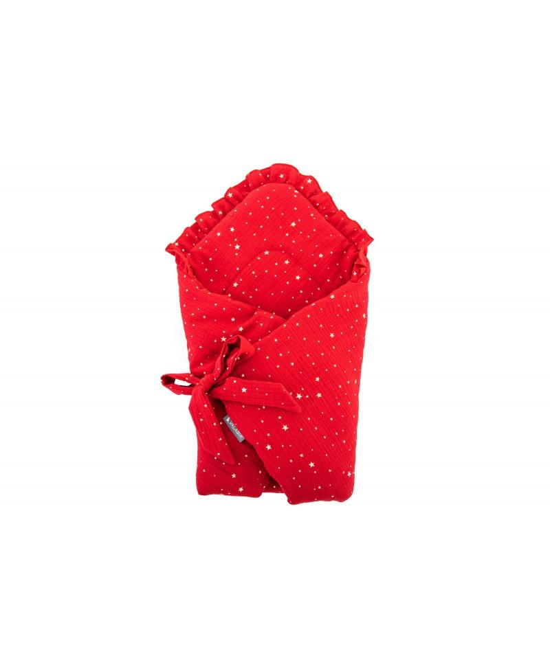 Rożek muślinowy niemowlęcy Gwiazdki Czerwone